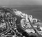 Aerial view with Indian Creek Miami Beach, Florida, 1966