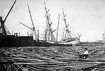 Lumber Schooners Partially Grounded on the Bayfront After the Hurricane of 1906, Pensacola